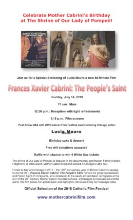 Mother Cabrini's Birthday - Frances Xavier Cabrini - The People's Saint